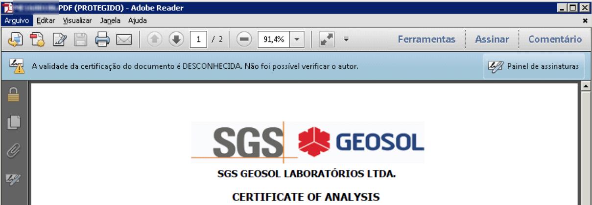 Mensagem de certificação desconhecida que aparece caso o Acrobat Reader não tenha sido configurado para reconhecer a assinatura