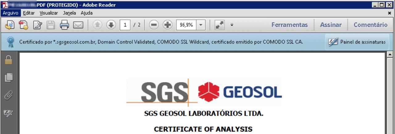 Depois de configurado, o Acrobat Reader reconhece corretamente que um certificado foi assinado digitalmente pela SGS Geosol.
